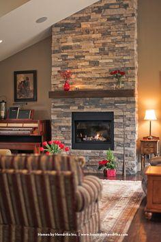 stone around fireplace!