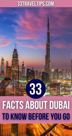 On this list, you'll find 33 fun facts about Dubai. From the records of its futuristic structures to the crazy rules, discover all you need to know about Dubai. | Everything you need to know about Dubai | Everything you need to know before going to Dubai | Dubai facts | Fun facts about Dubai | Interesting facts about Dubai | Crazy facts about Dubai Dubai Travel, Asia Travel, Bucket List Destinations, Travel Destinations, Travel Guides, Travel Tips, Beautiful Places In The World, Travel Articles, Cool Places To Visit