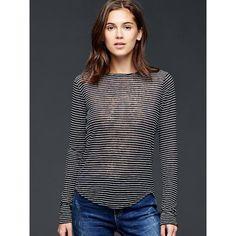 Gap Women Linen Stripe Tee ($40) ❤ liked on Polyvore featuring tops, t-shirts, regular, black long sleeve t shirt, long sleeve t shirts, black tee, lightweight long sleeve t shirts and black t shirt
