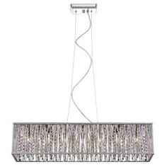 Home Decorators Collection 7-Light Chrome with Woven Laser Cut Crystal Shade Rectangular Pendant 17311 at The Home Depot - Mobile