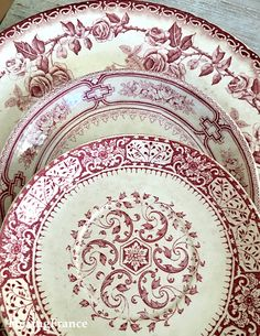 I love the mixed pattern of these dishes. Vintage Plates, Vintage Dishes, Vintage China, Terracotta, Pink Geranium, Mother Day Wishes, Blue Dishes, Painted Plates, China Art