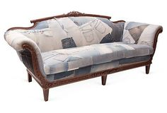 ... Lane - Celebrating 15 Colorful Years - Vintage Denim Patchwork Sofa