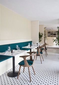 Danish studio Norm Architects has pared back the look of a typical Mediterranean interior to create a more Scandinavian aesthetic for this Italian restaurant in Copenhagen. Restaurant Design, Chaise Restaurant, Italy Restaurant, Luxury Restaurant, Restaurant Concept, Restaurant Lighting, Design Hotel, Design Café, Cafe Design