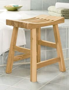 Teak Shower Stool, Bath Stool: The Meditation Stool