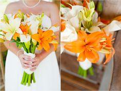orange, wedding, flowers, bouquet, lilies, calla lilies