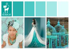 Turquoise Blue wedding Inspiration Colour Board by Designcat