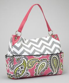 Take a look at this Caught Ya Lookin' Gray Zigzag & Pink Paisley Diaper Bag on zulily today!