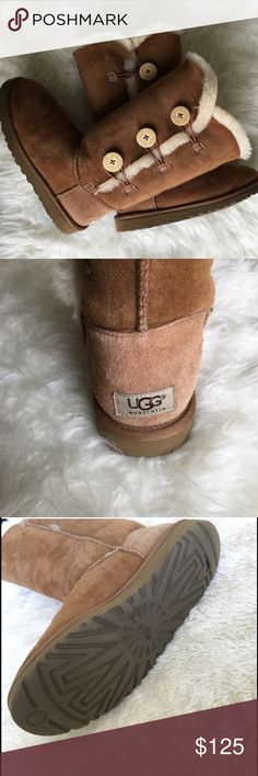 Chestnut Bailey Button UGGS Authentic UGS Australia! Chestnut with 3 buttons. Worn a few times but no signs of wear! Great condition!! I am open to offers:) UGG Shoes Winter & Rain Boots