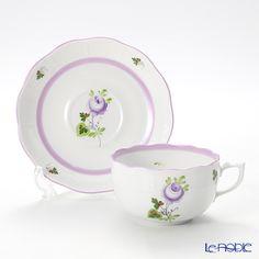 Šálek na čaj * bílý porcelán s malovaným fialovým okrajem a růžičkou ♥