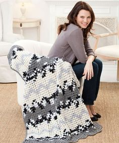 Contemporary Granny Ripple Throw Free Crochet Pattern from Red Heart Yarns