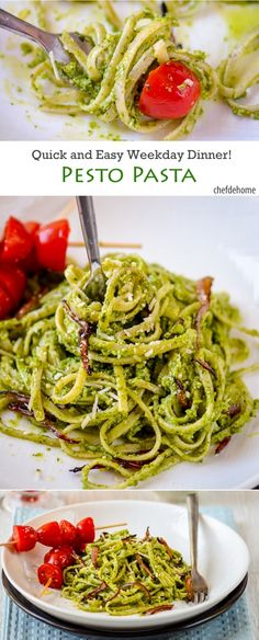 Basil Pesto Pasta Linguine   chefdehome.com