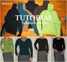 I hate turtlenecks. Tutorial to refashion remake upcycle them into V-neck, boatneck, crewneck a.s.o.