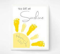 Baby Footprint Art - You Are My Sunshine Art Print - Yellow and Gray Nursery, Baby Wall Art - Baby Nursery Decor