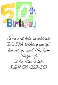 50th Birthday Invitation Templates Free Printable 50th Birthday
