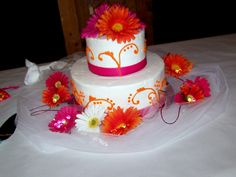 Wedding Cake- Pink and Orange