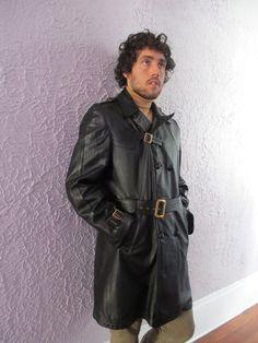 Vintage Men's Mod Black Leather Trench Coat 42 by PaisleyBabylon.