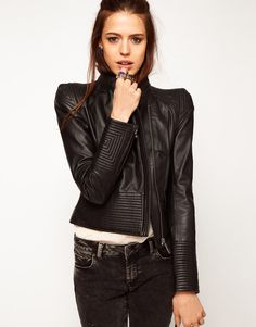 Structured Leather Biker Jacket at ASOS  Absolutely love it