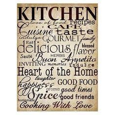 Simple Speak Kitchen Canvas Print / Canvas Art by Grace Pullen Kitchen Canvas Art, Kitchen Art, Red Kitchen, Kitchen Redo, Kitchen Posters, Kitchen Prints, Off White Walls, Boat Names, H Design