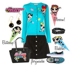 """The Powerpuff Girls!"" by florymcintee ❤ liked on Polyvore featuring AG Adriano Goldschmied, Moschino, Vans and Bling Jewelry"