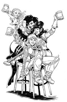 Tess Fowler - Poster design for the Rat Queens after party happening the weekend of ECCC.