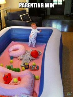Backyard inflatable pool becomes a great, safe indoor play area for baby! Haha, smart if you have the room!