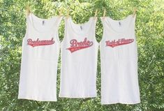 Items similar to Bachelorette Script Tanks with date - Bridal Bride, Maid of Honor, Bridesmaid and Bridal Entourage - Set of 5 on Etsy Britt Bachelorette, Winery Bachelorette Party, Bachelorette Outfits, Bridesmaid Tanks, Bridesmaids, Bridal Entourage, Bridal Party Shirts, Maid Of Honor, Etsy