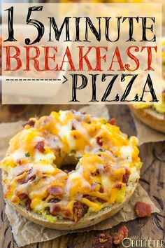 Breakfast Pizza Bagels - 15 Minute Breakfast Pizzas- i them for a quick breakfast before school. Breakfast And Brunch, Breakfast Dishes, Breakfast Pizza Recipes, Bagel Breakfast Sandwich, Dinner Recipes, Breakfast Casserole, School Breakfast Pizza, Dinner Ideas, Freezer Breakfast Sandwiches