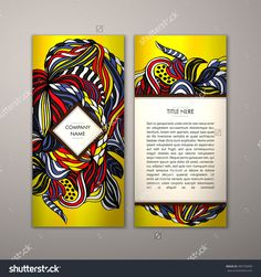 Flyer Template With Abstract Ornament Pattern. Vector Greeting Card Design. Front Page And Back Page. - 489750499 : Shutterstock