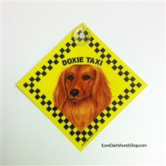 Doxie Taxi Car Sign Long Hair