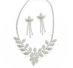 Rhinestone Leaf Necklace and Earrings, love the necklace! not so much the earrings. . .