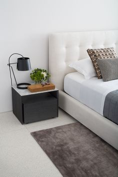 The Serenade bedside table is an elegant addition to any bedroom. The defined box shape design features a deep drawer for storage and convenient shelf. The King Living Winter Sale ends today! Tufted Bed, Gray Bedroom, Shape Design, Home Renovation, Floating Nightstand, Bedside, Grey And White, Bedroom Furniture, Home And Family