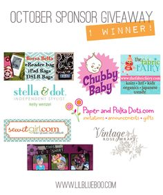 Oh, oh, oh...I'd love to win all this! Check out the October Sponser Giveaway @ Lil Boo Blue