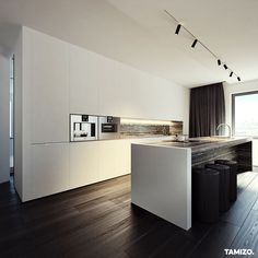 tamizo architects group added a new photo. Flat Interior Design, Interior Design Kitchen, Kitchen Living, Kitchen Decor, Tamizo Architects, Minimalist Kitchen, Modern Kitchen Design, Interiores Design, Home Kitchens