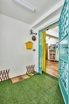 7 HDB Flats That Aren't Afraid of Colours Floor Patterns, Yellow Doors, Living Dining Room, Entrance Foyer, Colours, Renovation Budget, Home Renovation, White Walls, Interior Design Firms
