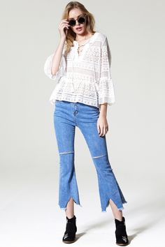 Hannah Lace Up Blouse Discover the latest fashion trends online at storets.com