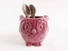 Purple Ceramic Owl Kitchen Decor - Home Decor - Owl Planter - Plum Purple Decor Owl Kitchen Decor, Mexican Kitchen Decor, Kitchen Decor Signs, Colorful Kitchen Decor, Cute Kitchen, Red Kitchen, Vintage Kitchen Decor, Colorful Decor, Ikea