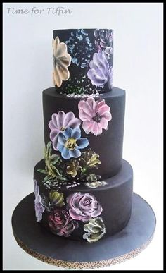 Abstract flowers on Black by Time for Tiffin  - http://cakesdecor.com/cakes/209229-abstract-flowers-on-black