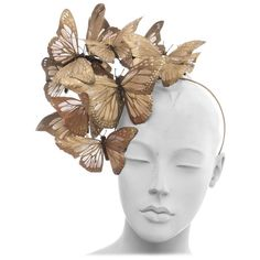 Philip Treacy Headband With Matte Gold Butterfly Appliqués And Jewel Accents | From a collection of rare vintage hats at https://www.1stdibs.com/fashion/accessories/hats/