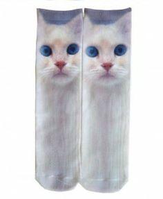 Miss Cat Printed Cotton Socks