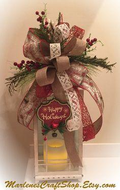 Christmas Lantern SwagBurlap and Lace by MarlenesCraftShop on Etsy