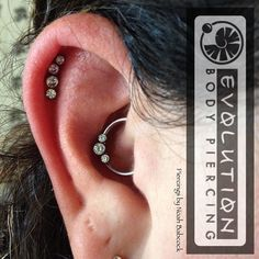 Daith and two helix piercing's with titanium jewelry by Anatometal (at Evolution Body Piercing) Daith Piercing Migraine, Body Piercing, Ear Piercings, Daith Earrings, Diamond Earrings, I Love Jewelry, Jewelry Art, Jewellery, Titanium Jewelry