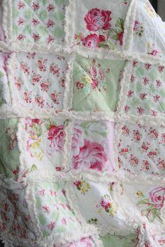 Shabby Chic Rag Quilt Baby Girl Minky Rag Quilt Pink Green Nursery by Gloria Garcia