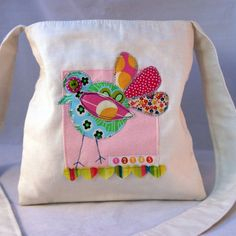 Patchwork Bird and Hearts Bag - Folksy