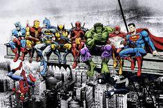 Marvel DC Superheroes Meet-Up Mounted Canvas Wall Art Captain America Iron Man Batman Wolverine Deadpool Hulk Flash Superman Venom Marvel Dc Comics, Ms Marvel, Marvel And Dc Superheroes, Bd Comics, Marvel Heroes, Marvel Avengers, Famous Superheroes, Disney Marvel, Captain Marvel