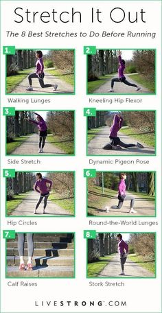 The 8 Best Stretches to Do Before Running Nothing can derail your fitness goals like an injury. Running with muscles that are cold and not properly stretched can result in a muscle strain that keeps you off your feet -- and off the road or trail -- for Fitness Workouts, Sport Fitness, Running Workouts, Running Training, Running Tips, Marathon Training, You Fitness, Fitness Goals, Fitness Tips