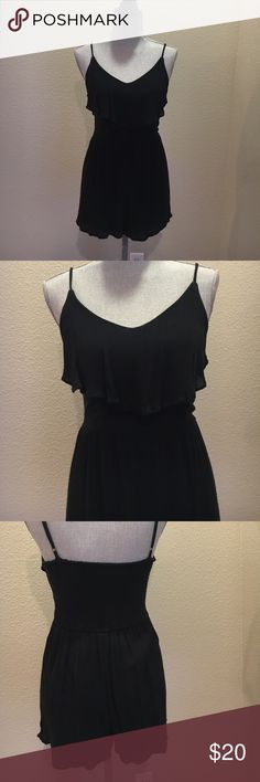 Ruffle front romper Black romper from Abercrombie & Fitch in black, size small. Extremely cute! Great condition, only worn a few times Abercrombie & Fitch Dresses