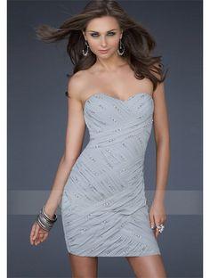 Cheap Sheath Strapless Sweetheart Beaded Pleated Mini Homecoming Dress