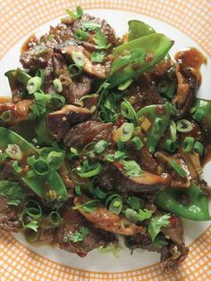 Beef, Shiitake, and Snow Pea Stir-Fry: Quick Recipes Recipe Stir Fry Recipes, Quick Recipes, Asian Recipes, Beef Recipes, Cooking Recipes, Healthy Recipes, Hawaiian Recipes, Chinese Recipes, Healthy Meals