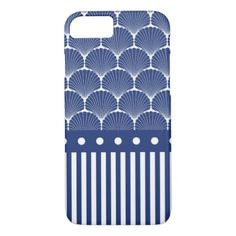 Blue Scallop Shells Pattern with Stripes and Dots iPhone 8/7 Case - pattern sample design template diy cyo customize