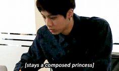 "Jin during ""Bangtan Bomb 'Let's test BTS' nerves.'"" Episode with his poker face."